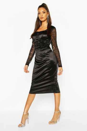 Womens Black Stretch Satin Cupped Rouched Midi Dress
