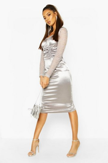 Womens Silver Stretch Satin Cupped Rouched Midi Dress