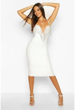 White Boutique Bandage Plunge Full Diamante Midi Dress