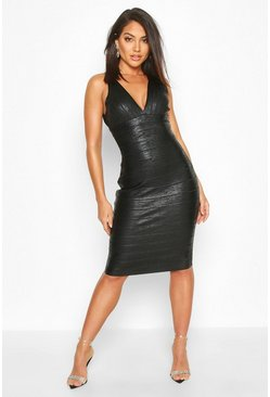 Womens Black Boutique Plunge Wet Look Bandage Midi Dress