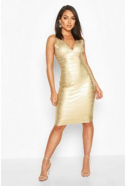 Gold Boutique Plunge Wet Look Bandage Midi Dress