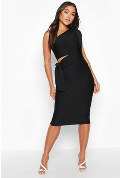 Black Boutique One Shoulder Tie Cut Out Bandage Midi Dress