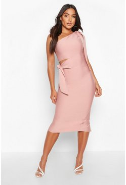 Dam Rose Boutique One Shoulder Tie Cut Out Bandage Midi Dress