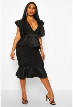 Womens Black Extreme Ruffle Lace Peplum Midi Dress