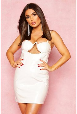 White Vinyl Cupped Midi Dress