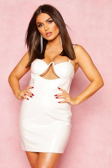 Womens White Vinyl Cupped Midi Dress