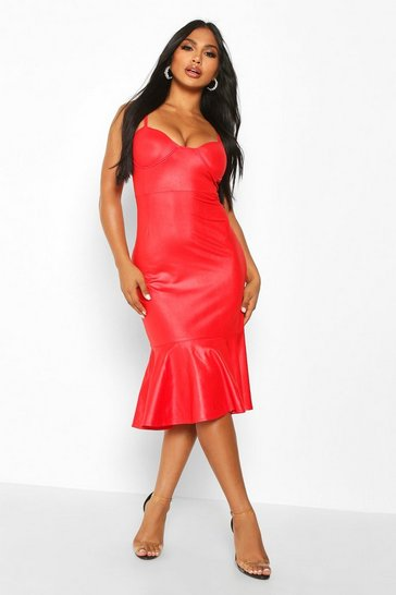 Red PU Cupped Frill Hem Midi Dress