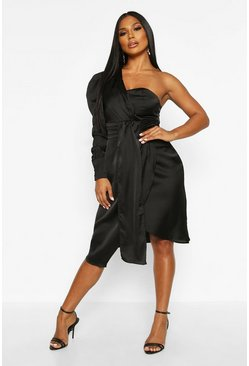 Black Satin One Shoulder Twist Front Midi Dress