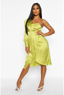 One-shoulder Midikleid aus Satin mit Twist-Front, Chartreuse