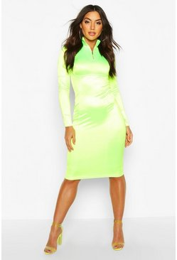 Neon-green Stretch Satin Zip Funnel Neck Midi Dress