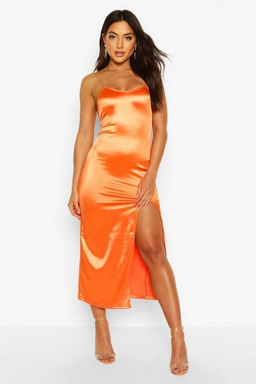 Womens Orange Stretch Satin Clear Strap Midaxi Dress