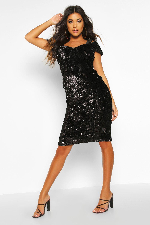 Velvet Sequin Cupped Off The Shoulder Midi Dress, Black