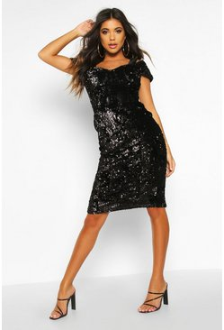 Womens Black Velvet Sequin Cupped off the Shoulder Midi Dress