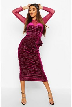 Dam Raspberry Mesh/Velvet Studded Midi Dress