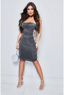 Black Sparkle Side Elastic Bandeau Midi Dress