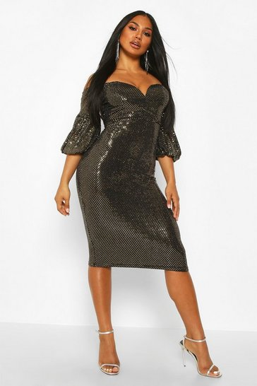 Gold Sparkle Puff Sleeve Midi Dress