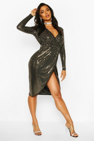 Womens Gold Sequin Wrap Plunge Midi Dress