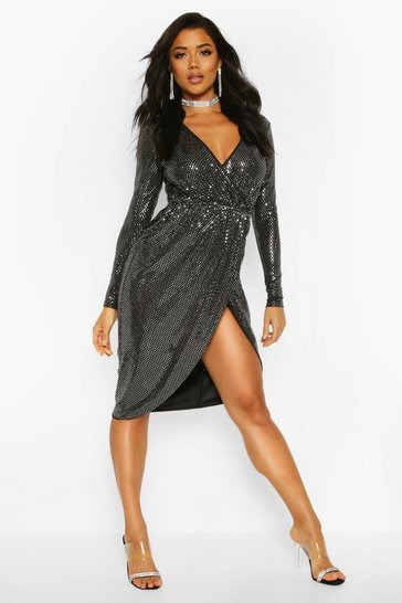 Womens Silver Sequin Wrap Plunge Midi Dress