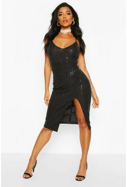 Womens Black Sequin Strappy Plunge Front Split Midi Dress
