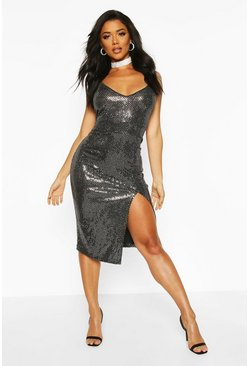 Womens Silver Sequin Strappy Plunge Front Split Midi Dress
