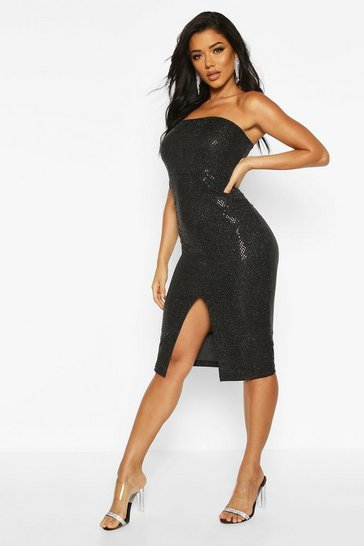 Black Sequin Bandeau Front Split Midi Dress