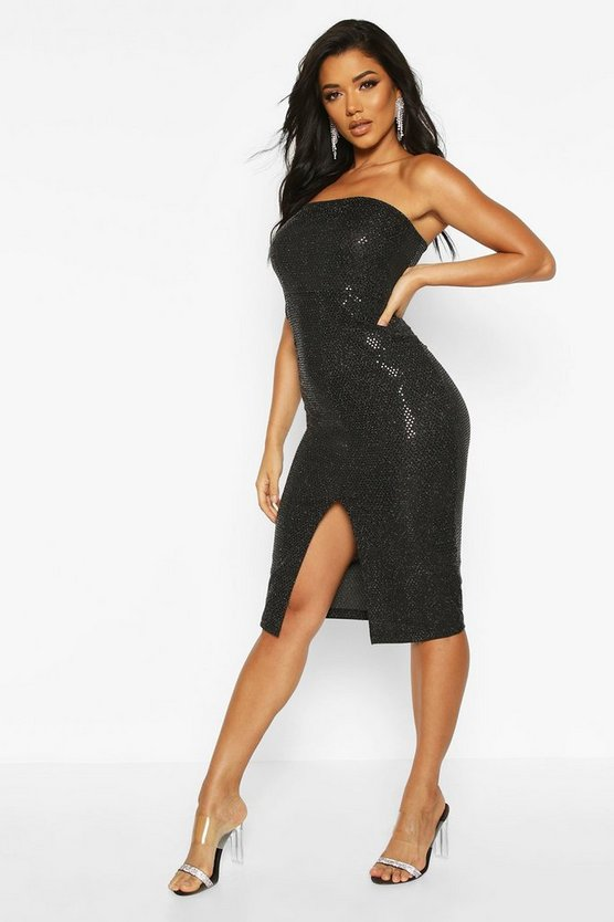 Sequin Bandeau Front Split Midi Dress