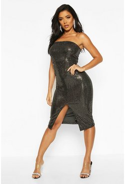 Womens Gold Sequin Bandeau Front Split Midi Dress
