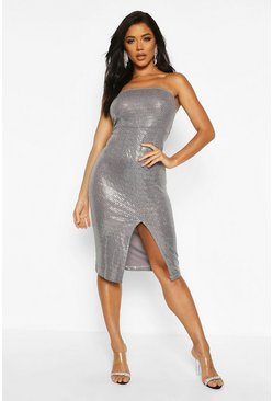Womens Pewter Sequin Bandeau Front Split Midi Dress