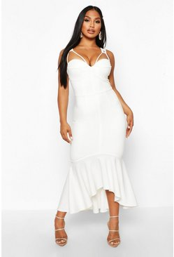 White Cupped Strap Detail Fishtail Midi Dress