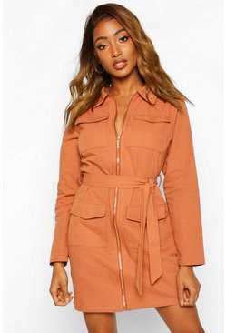 Brick Zip Detail Pocket Tie Waist Mini Dress