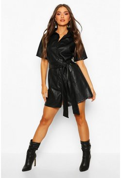 Womens Black PU Belted Shirt Dress