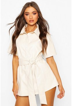 Womens Stone PU Belted Shirt Dress