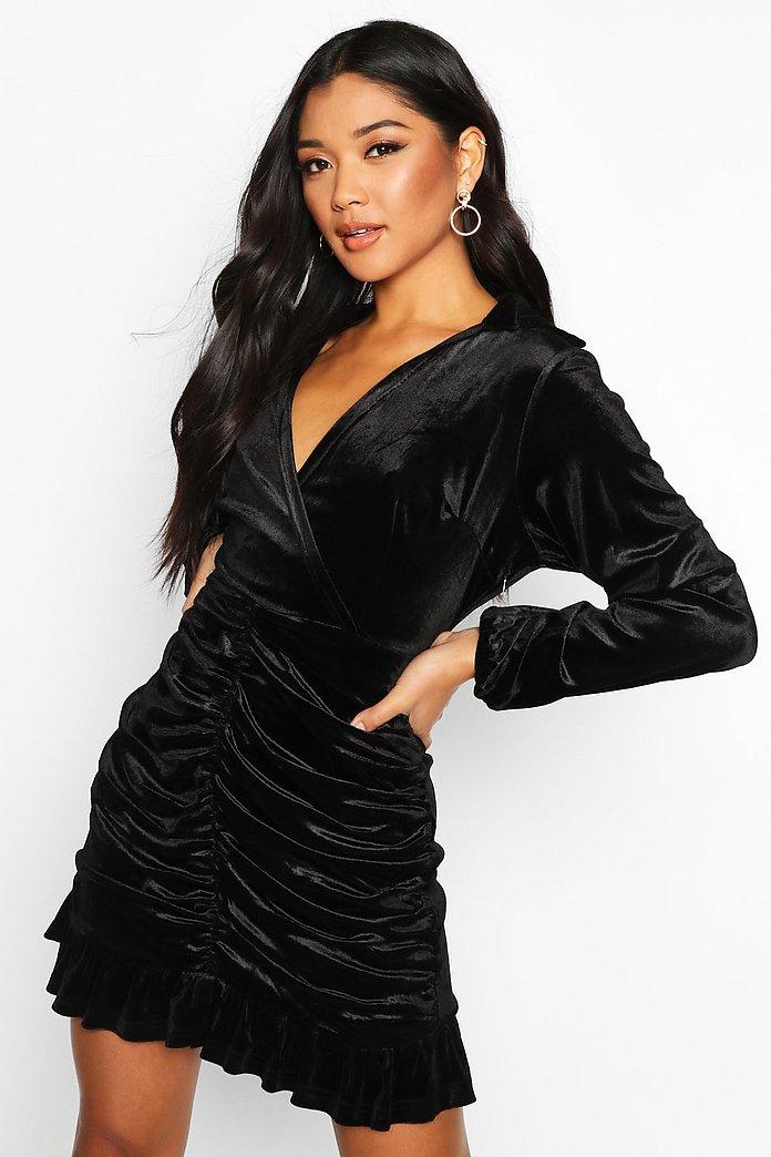 Velvet Rouche Front Wrap Shirt Dress by Boohoo