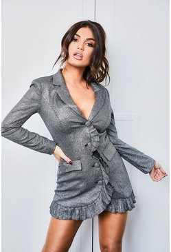 Womens Black Sparkle Pleated Blazer Dress