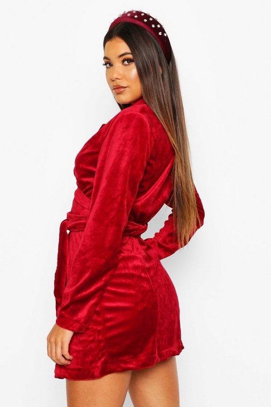 Velvet Tie Detail Blazer Dress