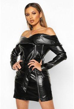 Womens Black PU Biker off the Shoulder Mini Dress