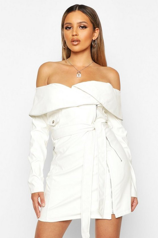 Womens White PU Biker off the Shoulder Mini Dress