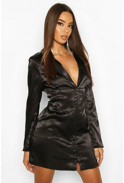 Womens Black Satin Corset Detail Blazer Dress