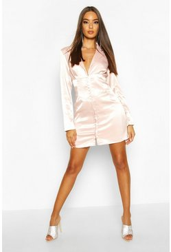 Womens Soft pink Satin Corset Detail Blazer Dress