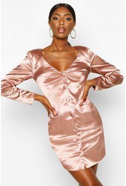 Rose Satin Off The Shoulder Button Detail Blazer Dress