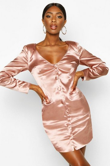 Womens Rose Satin Off The Shoulder Button Detail Blazer Dress