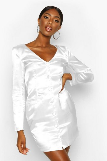 White Satin Off The Shoulder Button Detail Blazer Dress