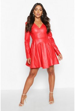 Red PU Godet Plunge Power Shoulder Skater Dress