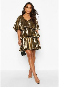 Womens Gold Plunge Tierred Metallic Skater Dress