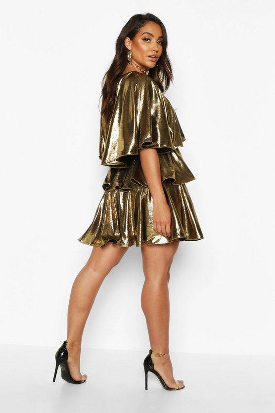 Plunge Tierred Metallic Skater Dress