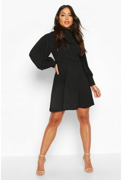 Black Woven Drape High Neck Skater Dress