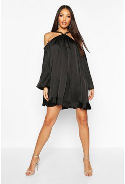 Black Satin Strappy Extreme Wide Sleeve Swing Dress