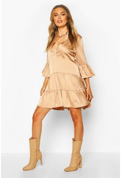 Tan Satin Tierred Smock Dress