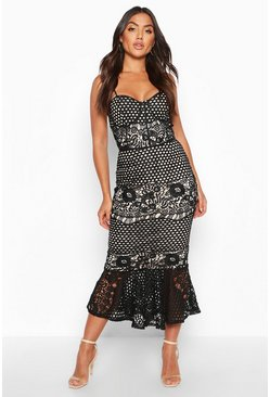 Womens Black Mesh Floral Cupped Peplum Midi Dress