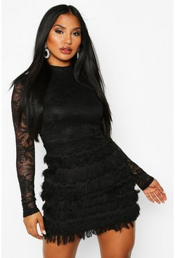 Black Lace Fringe High Neck Mini Dress